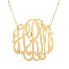 monogram gold necklace moon and lola metal script monogram necklace