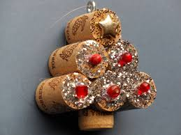 miniature christmas tree ornament with silver glitter red beads