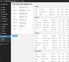 weekly class schedule u2014 wordpress plugins