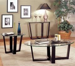 Glass And Metal Sofa Table Black Finish Metal Base U0026 Glass Top Modern 3pc Coffee Table Set