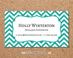 business card template teal chevron diy editable word