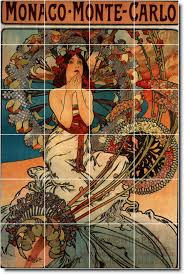 mucha poster art backsplash mural tile kitchen art residential
