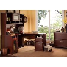 l shaped desk with hutch right return cabot l shaped desk with hutch and lateral file cabinet free