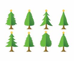 cartoon christmas tree set vector art u0026 graphics freevector com