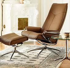 ekornes stressless city high back leather recliner and ottoman