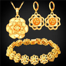 flower necklace set images Yellow gold silver bracelet earrings and pendant necklace set jpg