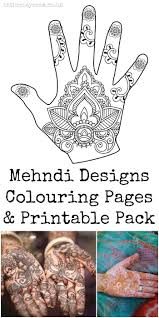 henna coloring pages mehndi hand colouring pages in the playroom