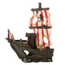 top fin sunken pirate ship aquarium ornament fish ornaments
