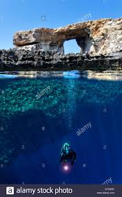 Azure Window Malta Gozo Natural Arch Azure Window Stock Photo Royalty Free