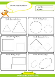 kindergarten activities big and small kids under 7 big and small worksheet