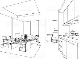 house outline outline sketch drawing interior perspective of house stock vector