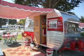 Small Caravan Awnings This Red U0026 White Awning Makes The Outdoor Decor For The Camper