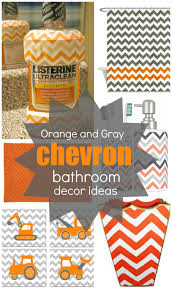 orange bathroom ideas get the look orange and gray chevron bathroom decor