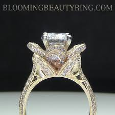 yellow gold engagement ring yellow gold large engraved blooming beauty flower diamond