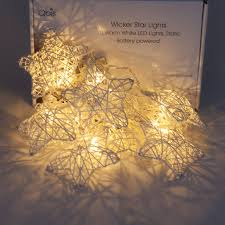 Battery String Lights With Timer by 10 Wicker Rattan Star Fairy String Lights Warm White Battery