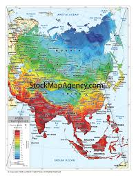 World Temperatures Map by Temperature Map Of Asia Available As Digital Download From