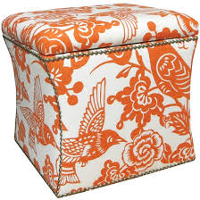 Orange Storage Ottoman Custom Upholstered Nail Button Storage Ottoman Skyline Furniture