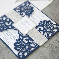 wedding invitations 1 fabulous navy blue laser cut wedding invitations with glitter