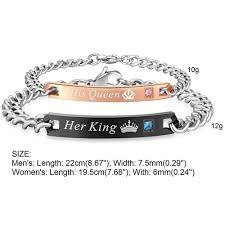titanium steel bracelet images His queen 39 and 39 her king 39 couple titanium steel bracelets gt letafo jpg