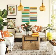 interior country style summer living room featuring round wooden