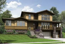 sloping house plans craftsman for uphill sloping lot 69520am architectural designs