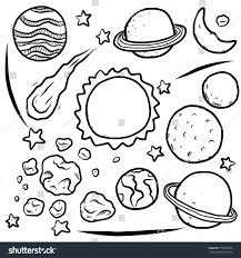 universe planet stars collection cartoon vector stock vector