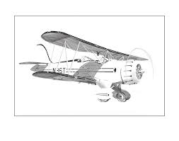 waco bi plane drawing by jack pumphrey