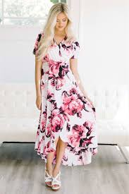 pink floral high low summer maxi modest dress best and