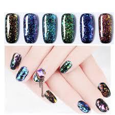 6 colors glitter brocade uv gel magic chameleon sequins soak off