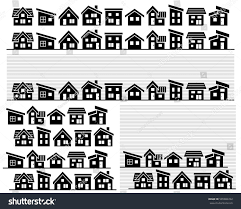 row simple house silhouette stock vector 585886742 shutterstock