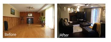 before and after adding dark bamboo floors