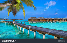 luxury vacation maldives water bungalow stock photo 398457577