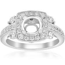 unique engagement ring settings 61ct cushion halo vintage unique engagement ring setting