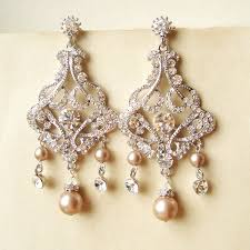 and pearl chandelier earrings chagne pearl bridal earrings chandelier wedding earrings