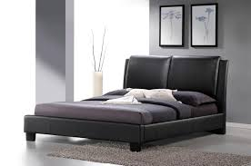 baxton studio sabrina black modern bed with overstuffed headboard