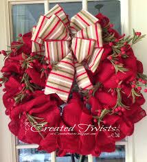 burlap christmas wreath created twists burlap christmas wreath with striped ribbon