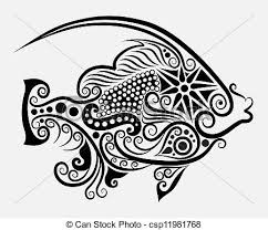 clip vector of decorative fish 2 fish drawing with floral
