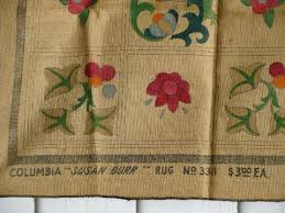 painted album quilt blocks vintage hessian burlap hooked rug