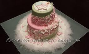 stunning homemade pink and green baby shower cake
