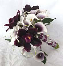 picasso calla picasso real touch calla bridal bouquet plum orchid white