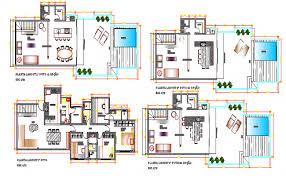 architecture plan villa type bungalow architecture layout plan details dwg file