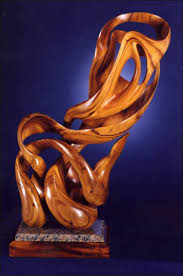 abstract sculpture in wood