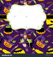 background pattern halloween vector halloween card template frame witch stock vector 655973833