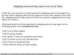 Resume Samples For Supervisor Positions Receiving Supervisor Job Description Shipping And Receiving