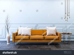 modern vintage interior living room brown stock illustration