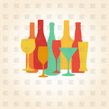 alcohol vector silhouettes of alcohol bottles and glasses vector clipart image