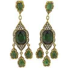 gold chandelier earrings impressive cathy waterman green tourmaline diamond gold chandelier