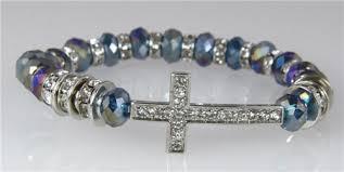 beaded bracelet with cross images 4031122 christian cross beaded stretch bracelet blue irredescent jpg