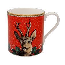 antler trellis u0026 stag red fine bone china mug halcyon days