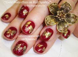 robin moses nail art gold butterfly nail art silver and mint